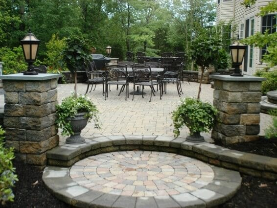 hardscape, pillars, patio, step