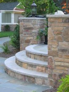 cultured stone step, bluestone tread