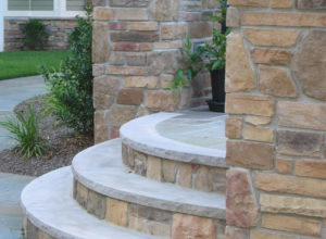 cultured stone step, bluestone tread