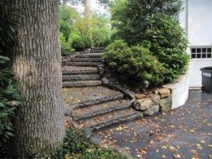 rock-face bluestone slab steps