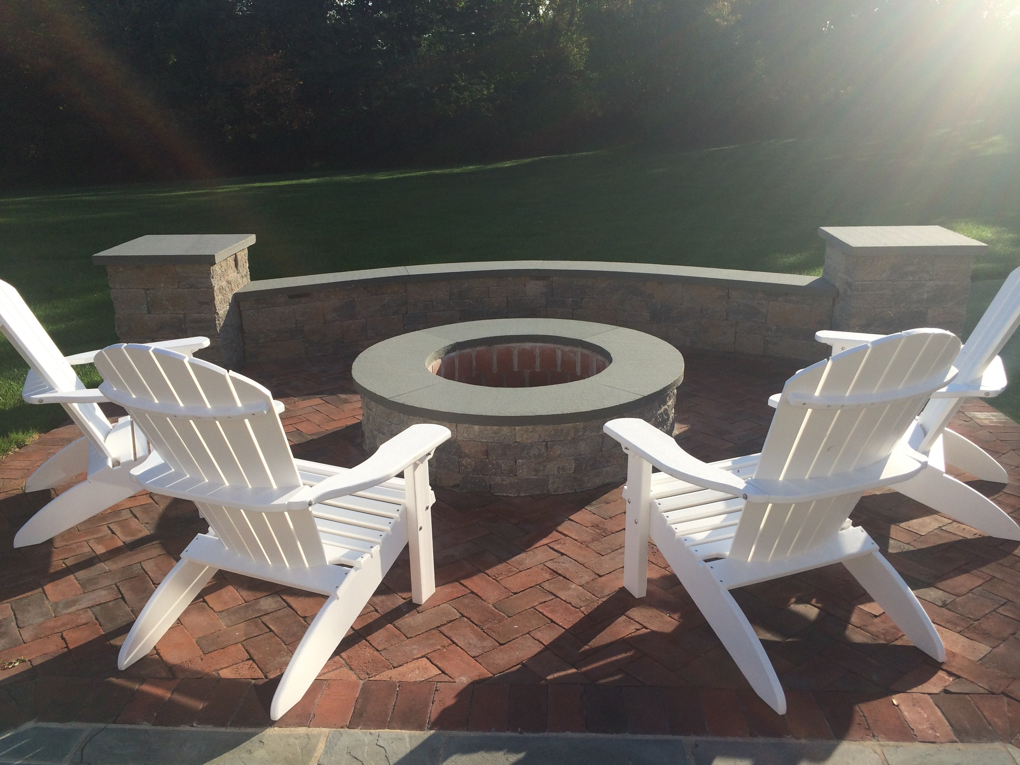 fire pit, seat wall, patio, pillar