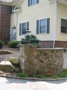 cultured stone pillars, bluestone cap