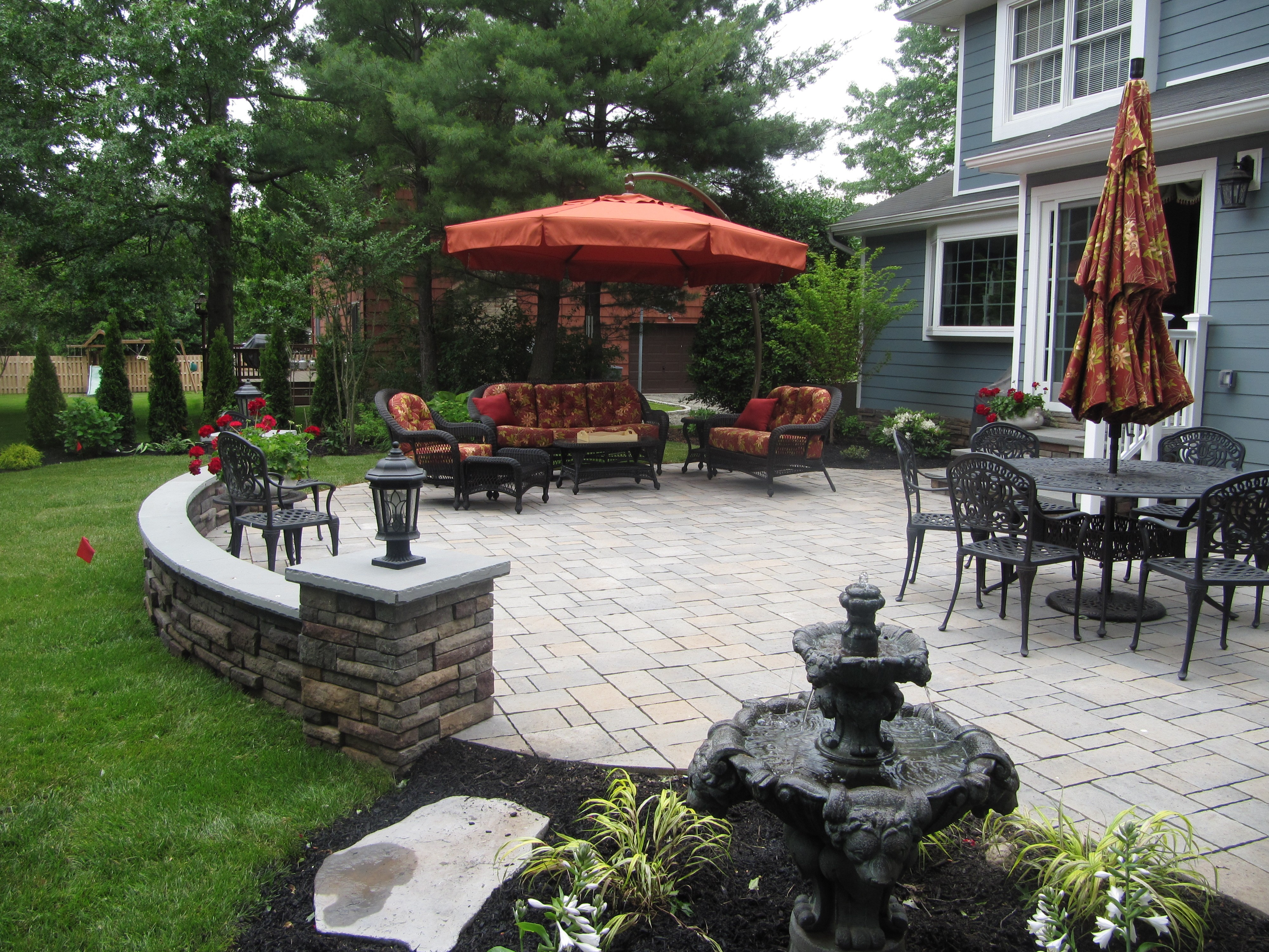 patio, hardscape, seat wall,