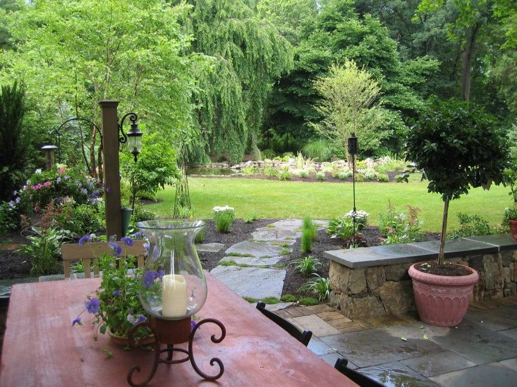 back landscape, patio, stepping stone walkway