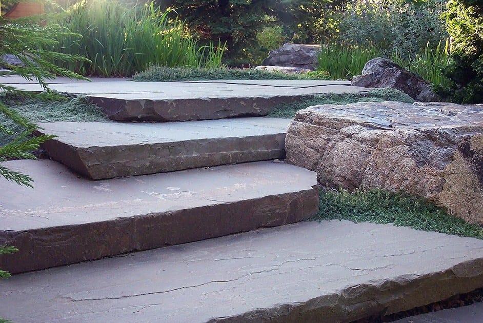 stone slab steps, hardscape